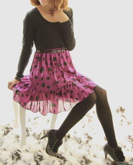 Fuchsia Pink Polka Dot Chiffon Skirt with Black Top Dress: Olivia