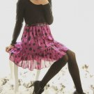 Fuchsia Pink Polka Dot Chiffon Skirt with Black Top Dress: Olivia