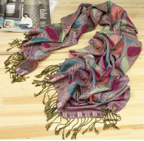 Indian Motif 100% Pashmina Scarf