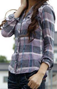 Purple Plaid Long Sleeve Preppy Style Shirt: Trishia