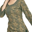 American Crepe Tunic (Kurtis) with Gold Prints from India: Aliyah