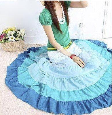 Blue Cotton Voile Bohemian Skirt: Elodie