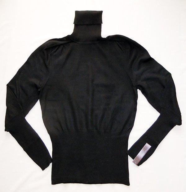 Classic Black Long Sleeve Turtleneck Shirt: Samantha