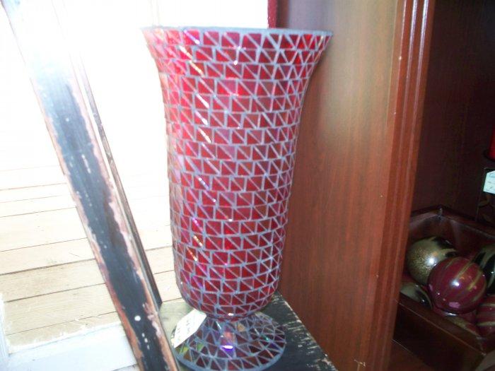Red multi glass vase