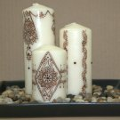 Henna design pillar candle set - with Swarovski crystals