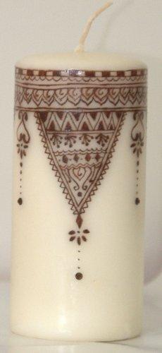 Henna design pillar candle - with Swarovski crystals