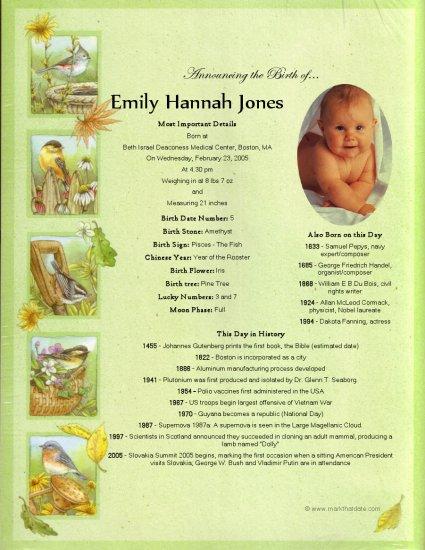 Birth Announcement keepsake