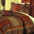 8pc Bed-in-a Bag Shojo Chocolate/Reddish Orange Pacchwork Comforter Set!!!!