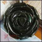 natural obsidian--carved rose pendant