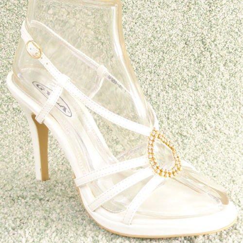 Women Rhinestone Platform High Heel Sandals White Sz 6