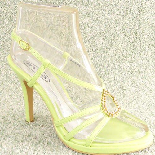 Women Rhinestone Platform High Heel Sandals Green Sz 7