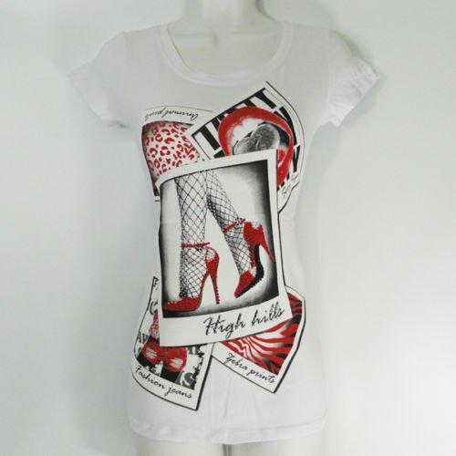Women Rhinestone High Heels Shirt short sleeve White M