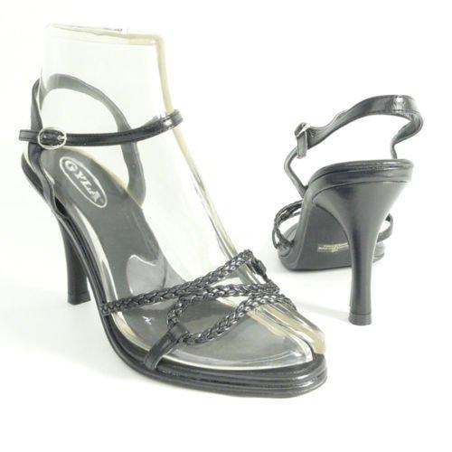 Women Heel Dress Sandal Z Upper Ankle Strap Black Sz 8