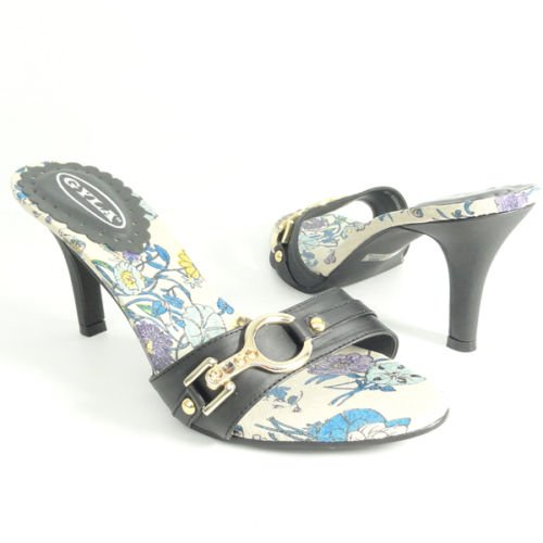 Casual Dress Sandals Flowers Print Insole Black Sz 10