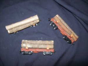 3 LOG CARS HO MODEL TRAIN (1 more coming to this collection)