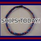 Titanium Baseball Sport Necklace BLUE & RED