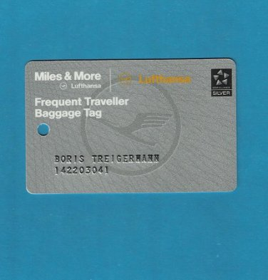 LUFTHANSA FREQUENT TRAVELLER PLASTIC LUGGAGE TAG CARD