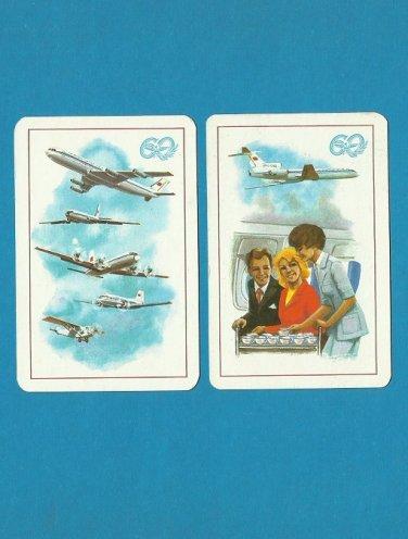 AEROFLOT 60th ANNIVERSARY 1983 RUSSIAN AND ENGLISH LANGUAGE CREDIT CARD SIZE POCKET CALENDARS