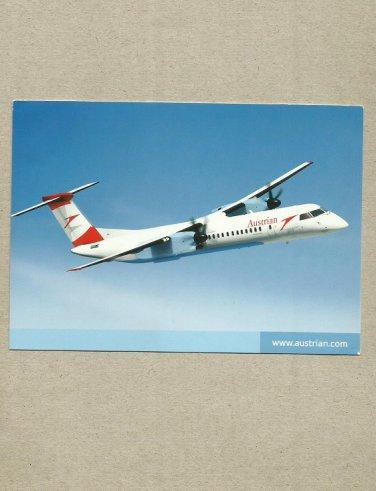 AUSTRIAN AIRLINES  BOMBARDIER Q400 REGIONAL TURBOPROP AIRCRAFT POSTCARD