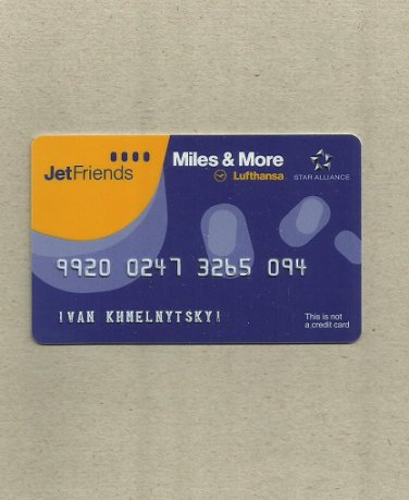 LUFTHANSA AIRLINES JETFRIENDS MILES AND MORE FREQUENT FLIER CLUB CARD