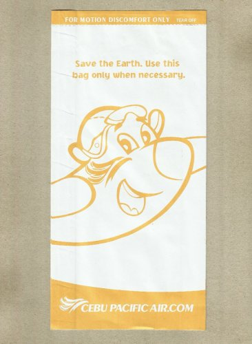 CEBU PACIFIC AIRLINE AIR SICKNESS BAG BARF WASTE BAG