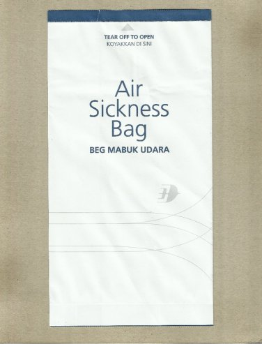 MALAYSIA AIRLINES AIR SICKNESS BAG BARF WASTE BAG
