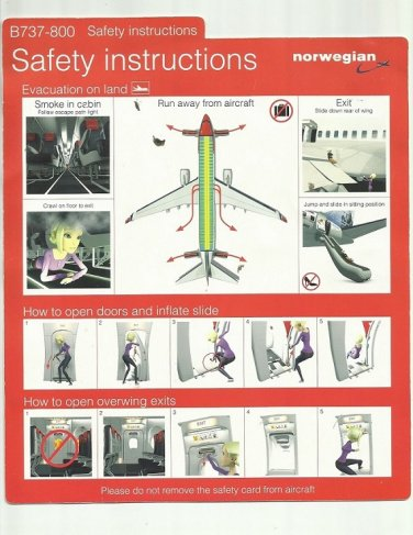 NORWEGIAN AIR AIRLINE BOEING B737-800 AIRLINE SAFETY CARD