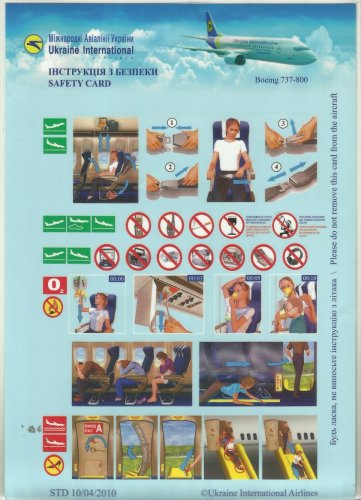 UKRAINE INTERNATIONAL AIRLINE BOEING 737-800 AIRLINE SAFETY CARD