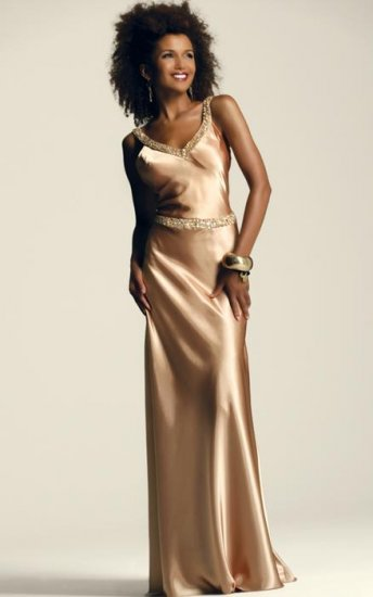 Faviana 6142 Celery Beaded Criss-Cross Back Evening Dress