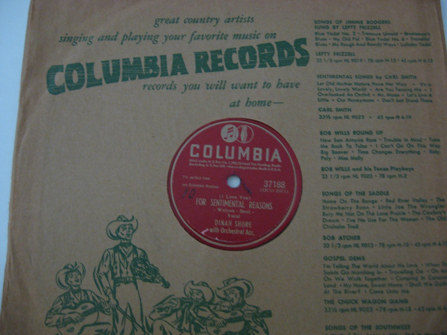 Dinah Shore - For Sentimental Reasons/You'll Always Be The One I Love - 1952 (Vinyl Records)