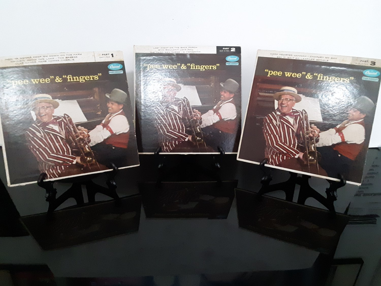 """Pee Wee Hunt & Joe """"Fingers' Carr - Lot of 3 Records - """"Pee Wee and Fingers"""" - Parts 1,2,3"""