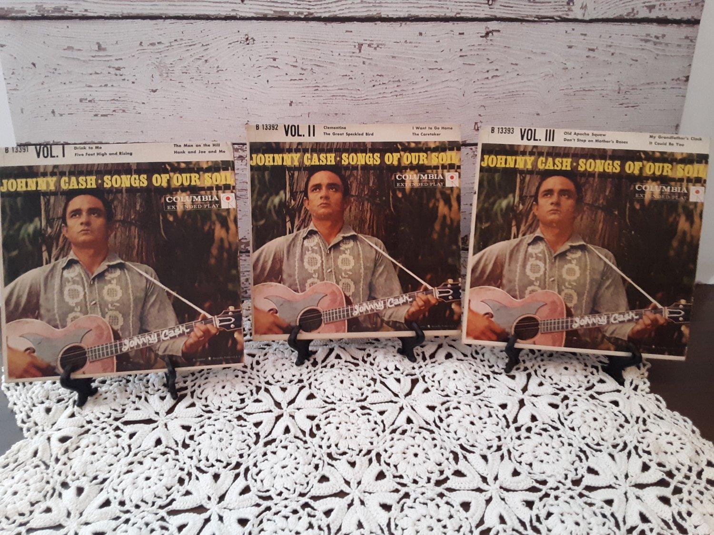 Rare - Johnny Cash - Songs Of Our Soil Volume 1-2-3 - 45rpm - Circa 1959