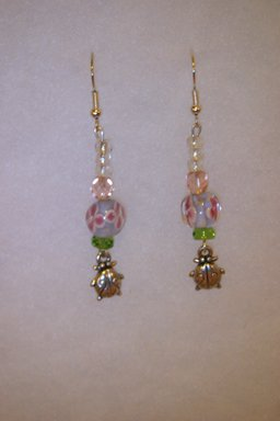 Lady Bug Charm Earrings