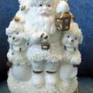 Beautiful VINTAGE Hinged CERAMIC Santa TREE Box GILT
