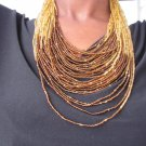 Brown and Tan multi-string Necklace