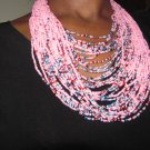 pink multi-string necklace