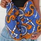 orange and blue hand bag