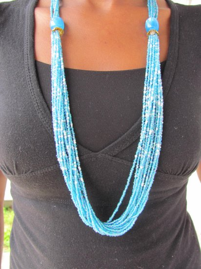 green long multi-string necklace