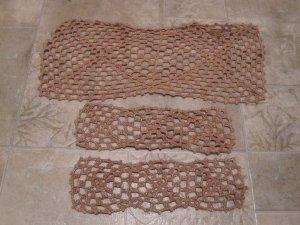 3 Vintage coffee table doilies brownish w/ gold flecks