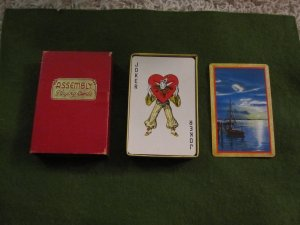 Vintage Assembly Playing Cards Ship Design in red box