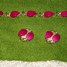 Vintage necklace & clip-on earrings set plum color