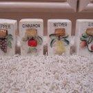 Vintage Pepper Cinnamon Nutmeg Salt containers w/ cork