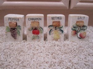 Vintage Pepper Cinnamon Nutmeg Salt containers w/ cork