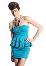 Turquoise Peplum Dress (S,M,L)