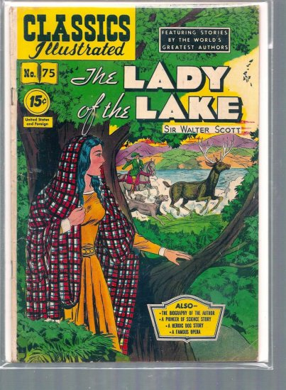 CLASSICS ILLUSTRATED THE LADY OF THE LAKE # 75, 4.0 VG