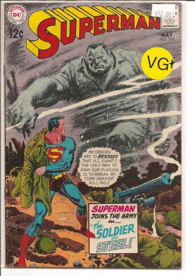 Superman # 216, 4.5 VG +