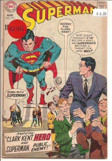 Superman # 219, 3.0 GD/VG