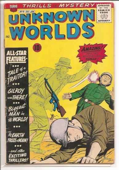 UNKNOWN WORLDS # 4, 3.5 VG -