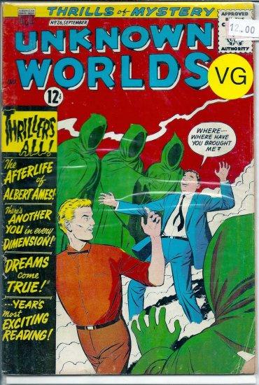 Unknown Worlds # 26, 4.0 VG