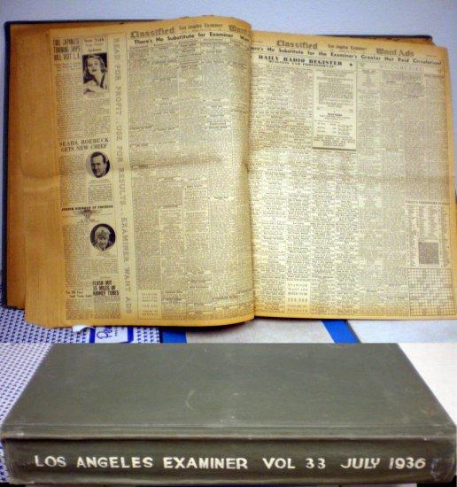 LOS ANGELES EXAMINER BOUND VOLUME #33 JULY 1936 # 33, 3.0 GD/VG